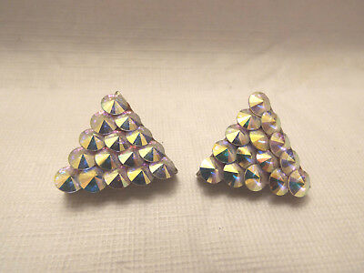 Pair of Vintage Beaded Western Collar Tips - Shimmering AB Colored Stones