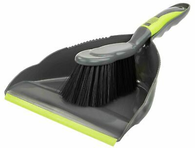 Home Basics Brilliant Dust Pan Set, Grey/Lime - PB41506