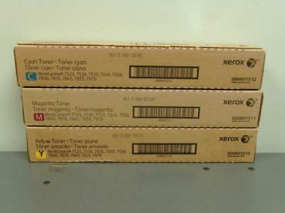 3 New Genuine XEROX Color Toners  006R01510 006R01511 006R01512