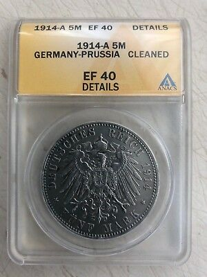1914-A Germany-Prussia 5 Mark ANACS EF 40 Details German Empire Silver Coin