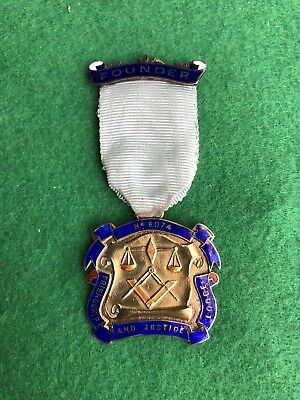 Vintage Masonic Silver Founder Jewel Lodge No 1974 With Receipt