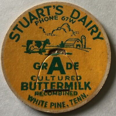 Stuart's Dairy Milk Bottle Cap White Pine Tenn Jefferson County TN Tennessee