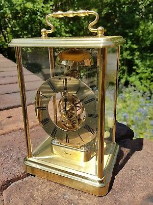 Vintage Brass Skeleton Mantel Clock Germany No (0) Jewels Hourly Bell Chimes