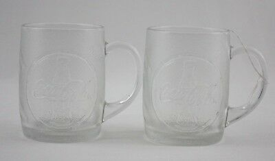 Coca Cola Frosted Embossed Clear Glass Mugs Cups Lot 2
