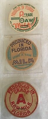 3 Produced In Florida Dairy Milk Bottle Caps Fla. FL