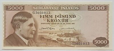 Iceland-5000 Kronur-Highest Denomination-1961-Pick 47-S/n G3031013-Lot 1 , Unc .