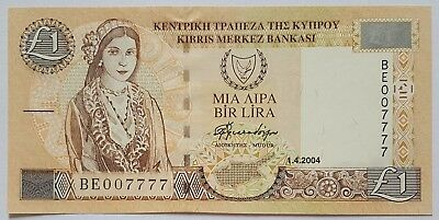 CYPRUS-1 POUND-2004-PICK 60d , FANCY SERIAL NUMBER 007777 , LOT 1  , UNC .
