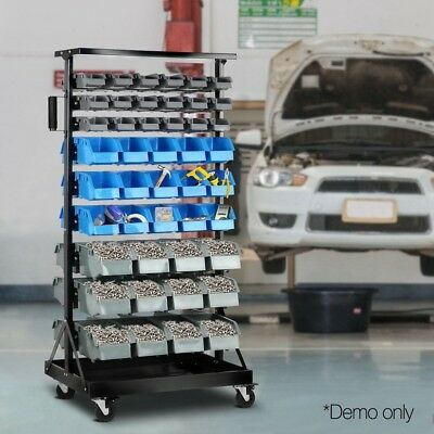 90-Bin Storage 9-Tier Rack Stand Organiser Stand Workshops Double Sided Sml Lg