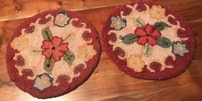 Lot of 2 Round Wool Antique Chair Pad Floral Primitive Hook Rug Seat Woven