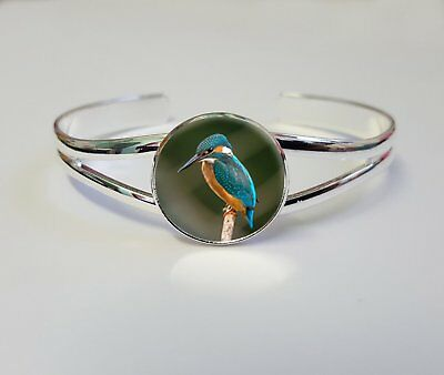 Kingfisher On A Silver Plated Bracelet Bangle Costume Jewellery Ladies Gift L106