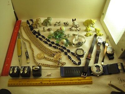vintage junk drawer lot,jewelry,sterling charms,knives,watches,miniature Bulldog