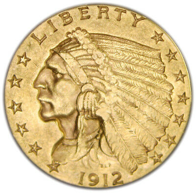 1912 $2.50 Indian Gold Coin, very lightly circulated, no reserve