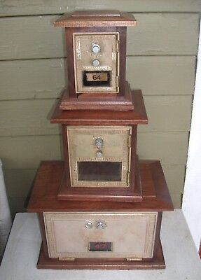 ANTIQUE BRASS POST OFFICE MAIL BOX FACE BANK, COMBINATION LOCK  SOLID WALNUT Sm
