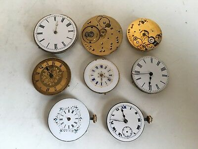 Job Lot of Antique Pocket Fob Watch Mechanical Movements For Spares