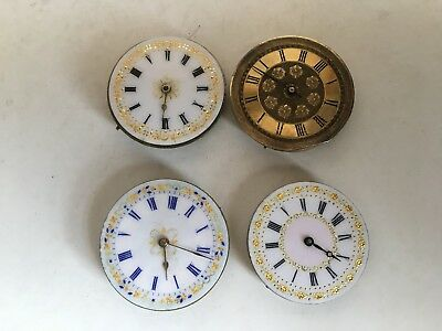 Job Lot of Antique 4 x Pocket Fob Watch Mechanical Movements For Spares