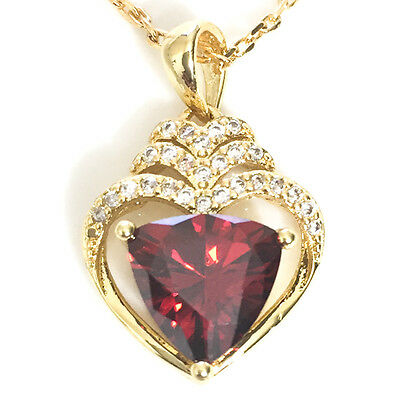 14K Yellow Gold Large Red Heart  Crystal Halo Pendant Necklace YR44