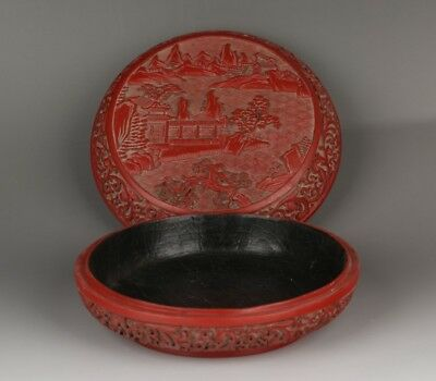 Chinese carved red lacquered wooden box