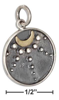 Genuine .925 Sterling Silver Talisman Bronze Crescent Moon With Moonbeams Charm