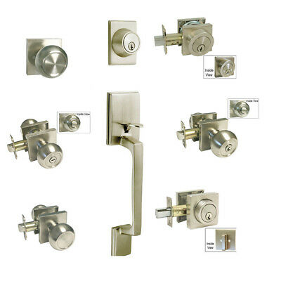 Satin Nickel door Lock Square plate round Knobs entry privacy Brushed nickel