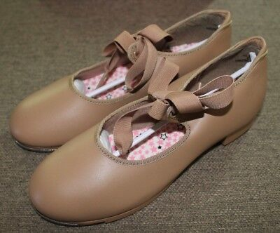 Capezio Girls Tan tie on Tap Shoes 2M, Brand New in box