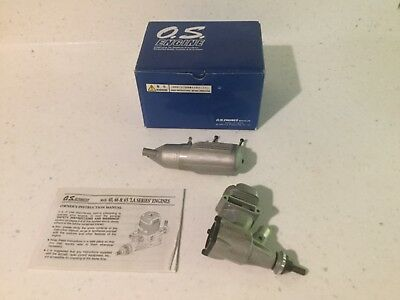 O.S. Max LA 46 silver model engine with box and instructions