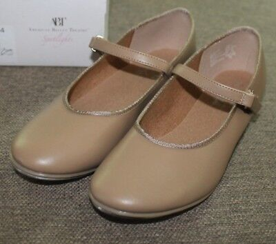 American Ballet Theatre ABT Tan Tap Shoes Buckle Size 2 US GIrls.