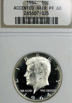 1964 PF68 Accented Hair Kennedy Half Dollar 50c Proof, NGC Graded as PR68
