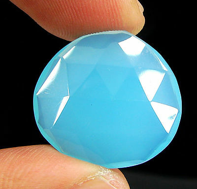 16.75 Ct Natural Blue Chalcedony Loose Faceted Gemstone Beautiful Stone - 10744