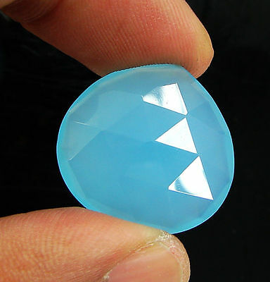 18.70 Ct Natural Blue Chalcedony Loose Faceted Gemstone Beautiful Stone - 10753