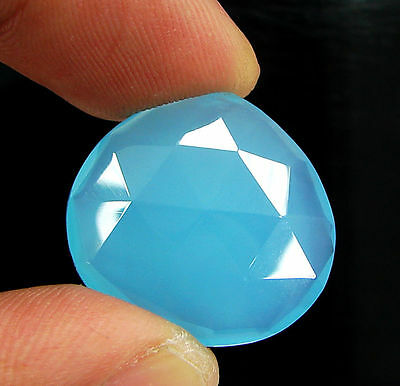 18.10 Ct Natural Blue Chalcedony Loose Faceted Gemstone Beautiful Stone - 10747