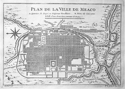 ca. 1750 Meaco Kyoto Japan Plan city Karte map Kupferstich antique print Bellin