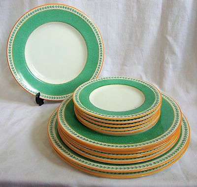 1930's Minton Set of Art Deco Plates x12 - Dessert, Side & Serving B1318