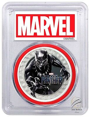 2018 Black Panther 1oz Silver Marvel $1 PCGS PR70 FS Red Gasket