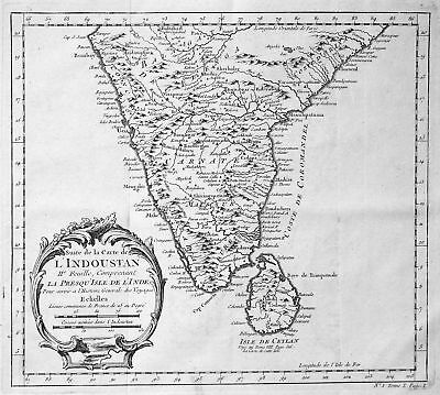ca. 1750 India Indien Sri Lanka Karte map Kupferstich antique print Bellin