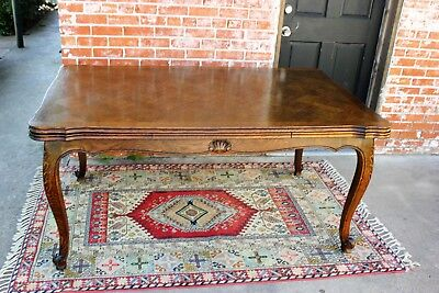 Antique French Louis XV Extendable Oak Wood Draw Leaf Dining Room Kitchen Table