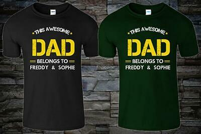 faec2a463 THIS AWESOME DAD BELONGS TO Mens T Shirt Personalised Gift Father Top Tee  Tshirt