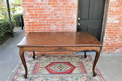 Antique French Louis XV Extendable Oak Wood Draw Leaf Dining Room /Kitchen Table