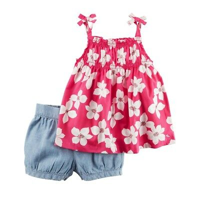 ed57dfe35 Carters Baby Girls 2-Piece Floral Tie Tank & Chambray Bubble Short Set Pink,