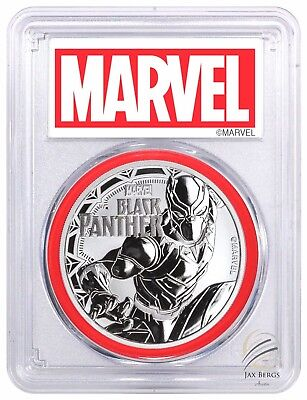 2018 BLACK PANTHER 1 oz SILVER PCGS MS69 MARVEL LABEL $1 Red Gasket FIRST STRIKE