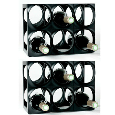 Nuance 12 Bottle Plastic Wine Rack Bar Organiser/Storage/Holder Shelf Stand BLK