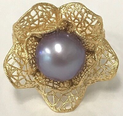 14K Solid Yellow Gold Italy Violet Button Pearl Flower Ring Size 8