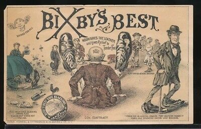 BIXBY'S BEST BLACKING SHOE POLISH Victorian Trade Card GIANT SHOES