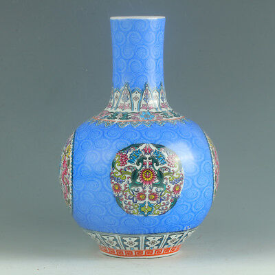 Chinese Porcelain Hand-Painted Flower Vase Mark As The Qianlong Period R1157