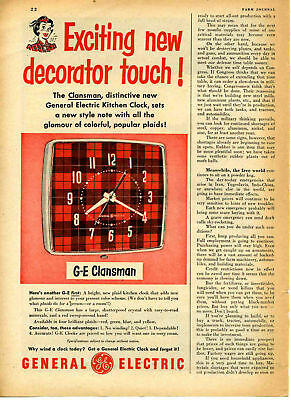 1951 Print Ad of GE General Electric Clansman Kitchen Clock