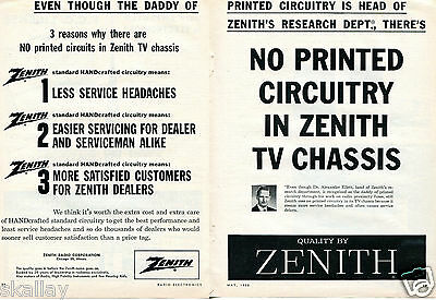 1958 2 Page Print Ad of Zenith Radio Corp No printed circuits in TV chassis