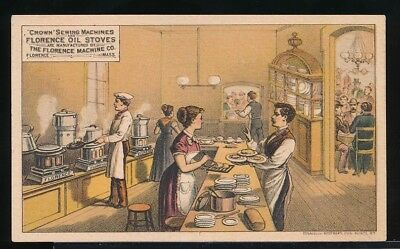 CROWN SEWING MACHINES & FLORENCE OIL STOVES Victorian Trade Card RESTAURANT