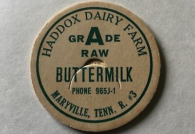 Haddox Dairy Farm Milk Bottle Cap Maryville Tenn Blount County TN Buttermilk