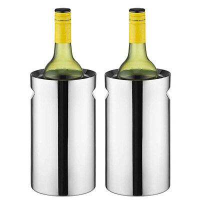 2PK Avanti Twin Stainless Steel Wine/Champagne Cooler/Chiller Indent Handles