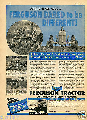 1950 Print Ad of Harry Ferguson System Farm Tractor & implements