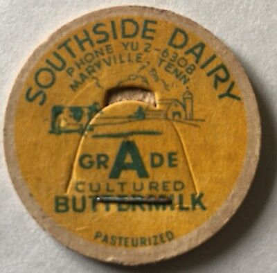 Southside Dairy Milk Bottle Cap Maryville Tenn Blount County TN Buttermilk